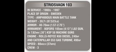 Char suédois STRIDSVAGN 103 WORLD OF TANKS