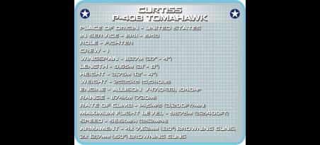 Chasseur américain CURTISS P-40B TOMAHAWK - COBI-5527