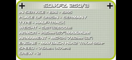 Transport de troupes blindé allemand Sd.Kfz. 250/3 Afrika Korps Référence COBI-2526