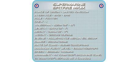 Chasseur britannique SUPERMARINE SPITFIRE MK. IX